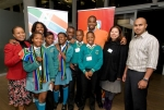 The BEDU team, pictured with students from Ratheo Intermediate School, at the launch of iSchoolAfrica World Cup Youth Press Teams